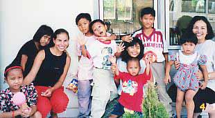 Leilani & Lydia with orphans in Jakarta