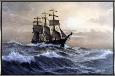 Ship in the midst of storm