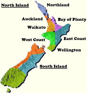 New Zealand Provinces Map.Loren Cunningah Nz 05